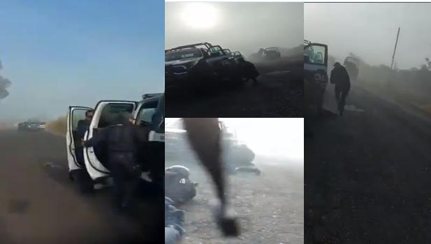 VIDEO.-  Así grabó un Policía Estatal el enfrentamiento que tuvieron esta tarde contra Sicarios del CJNG en Michoacán