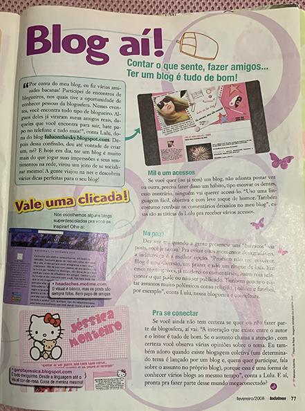Blog Lulu On The Sky é destaque na revista Toda Teen