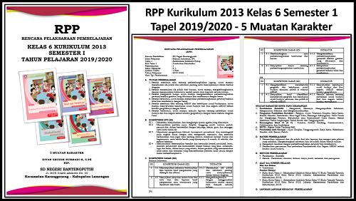 RPP Kurikulum 2013 Kelas 6 Semester 1 Tapel 2019/2020 - 5 Muatan Karakter