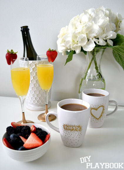 coffee mugs champagne gold berries mimosas