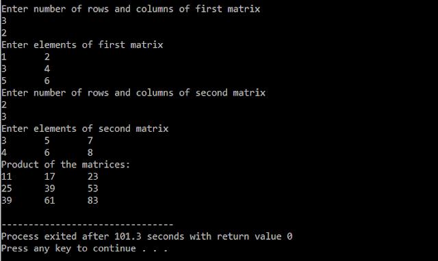 C Program For Matrix Multiplication | C Programming