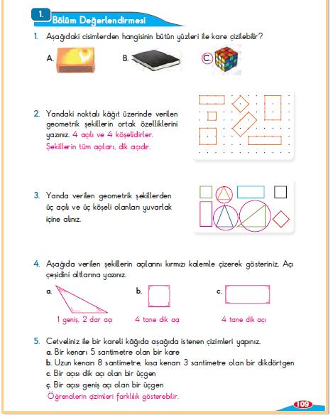 3. Sınıf Berkay Yayınları Matematik Ders Kitabı 109. Sayfa Cevapları Alan Bölüm Değerlendirmesi