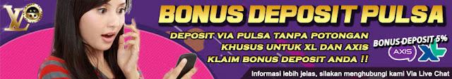 Bonus Deposit Pulsa 5% UntuK Pengguna Telkomsel, AS, XL dan AXIS (Syarat Turnover Hanya x1)