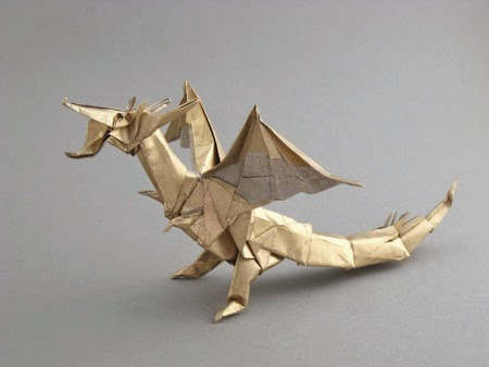 easy arts and crafts ideas: ancient dragon origami | 338x450