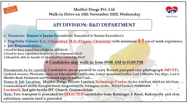 Maithri Labs   Walk-in for Freshers and Experienced in R&D on 18th Nov 2020
