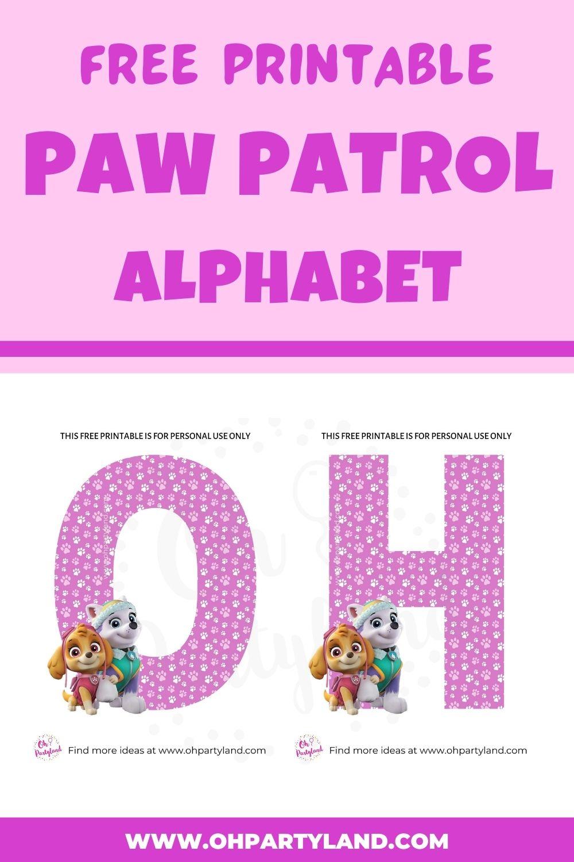 free printable paw patrol alphabet