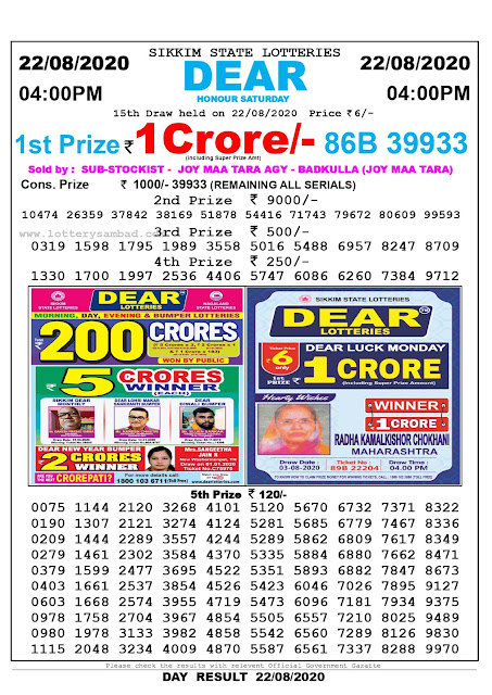 Lottery Sambad Today 22.08.2020 Dear Honour Saturday 4:00 pm