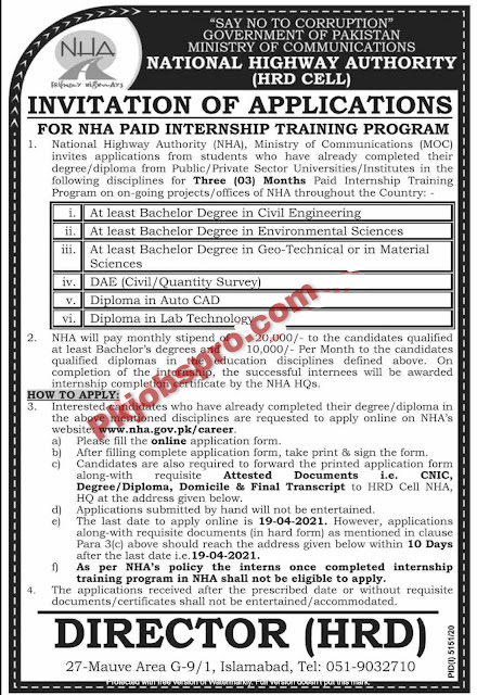 National Highways Internship (NHA) Training Program 2021