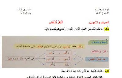 دروس-الأسبوع-الأول-الوحدة-الخامسة-اللغة-العربية-المستوى-الثالث