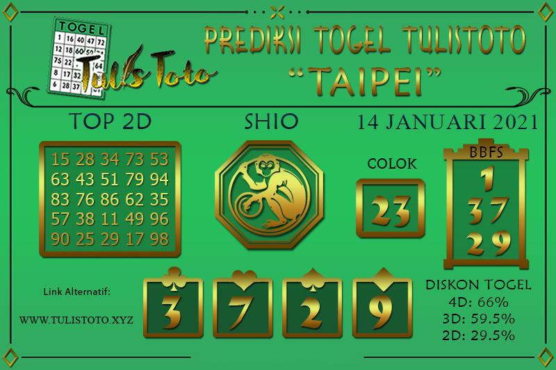 Prediksi Togel TAIPEI TULISTOTO 14 JANUARI 2021