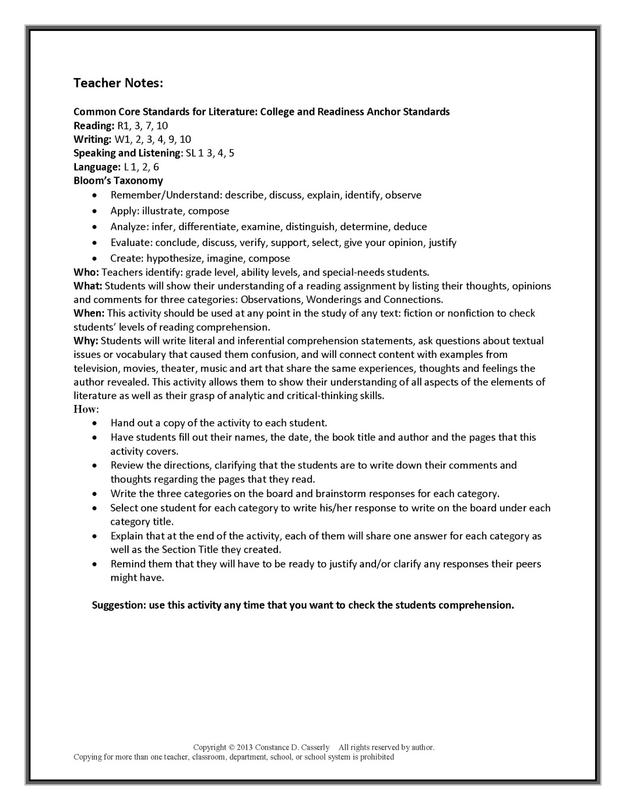 Reading Strategies Lesson Plans High School  reading workshop lesson plans high school