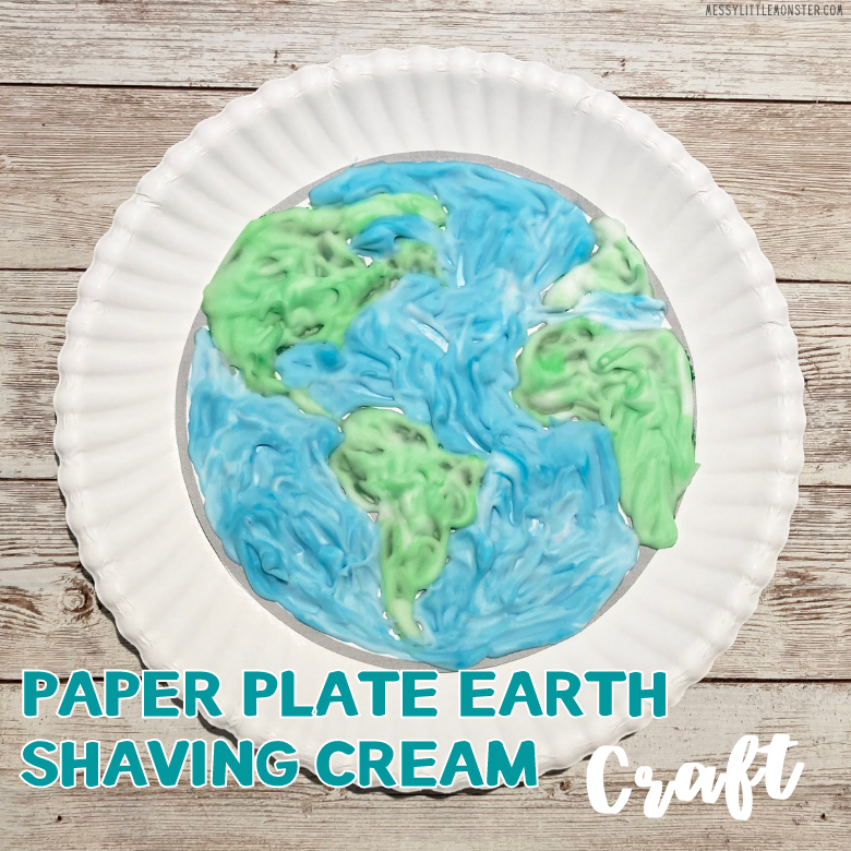 Earth day paper plate craft. Shaving cream craft for kids.