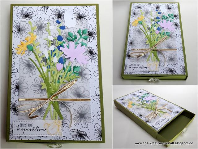 Grußkartenverpackung / Schubladenverpackung mit Wiesenblumen Stampin' Up! www.eris-kreativwerkstatt.blogspot.de