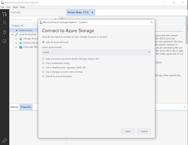 Azure Storage Explorer menu
