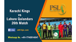 Who will win Today PSL 26th match KAR vs LAH T20 2020?
