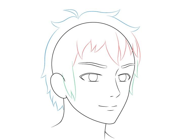 Anime laki-laki wajah 3/4 tampilan gambar rambut