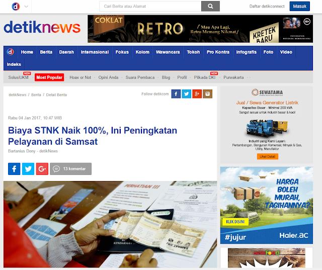 stnk dan bpkb naik 100%