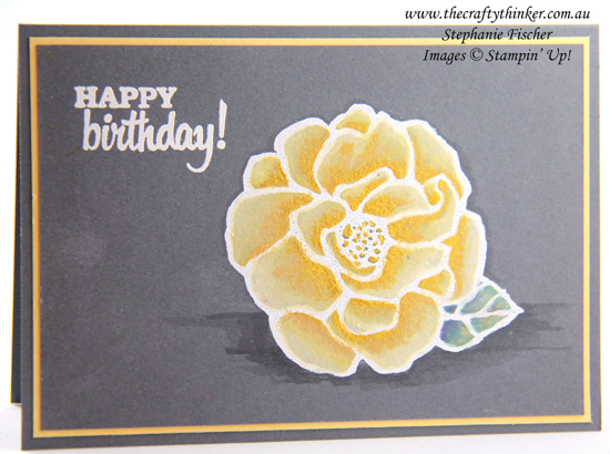 #thecraftythinker, #stampinup #cardmaking #beautifulday, #paintingondarkcard , Beautiful Day, Painting light colours on dark card, Birthday card, Stampin up Demonstrator, Stephanie Fischer, Sydney NSW