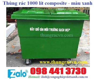 Thùng rác 1000 lít composite màu xanh