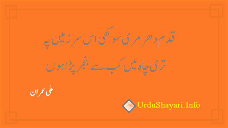 Sad Shayari In Urdu  -Ali Imran Shayari- poetry on banjar