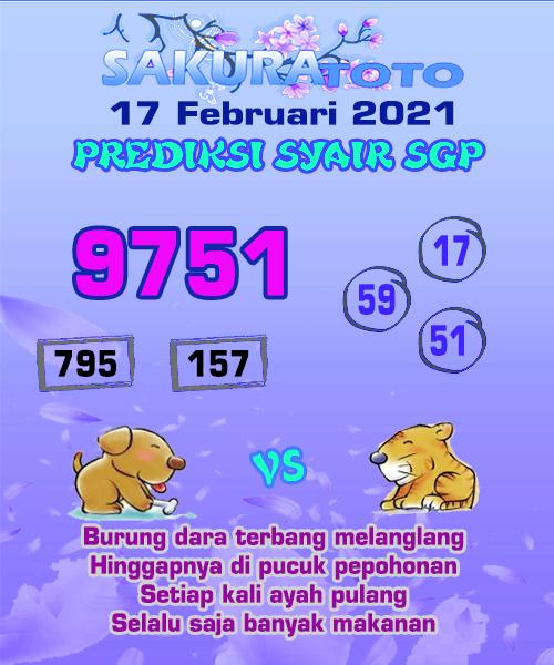 Syair Sakuratoto SGP Rabu, 17 Februari 2021