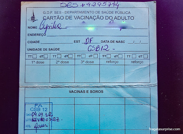 Certificado de vacinação contra febre amarela