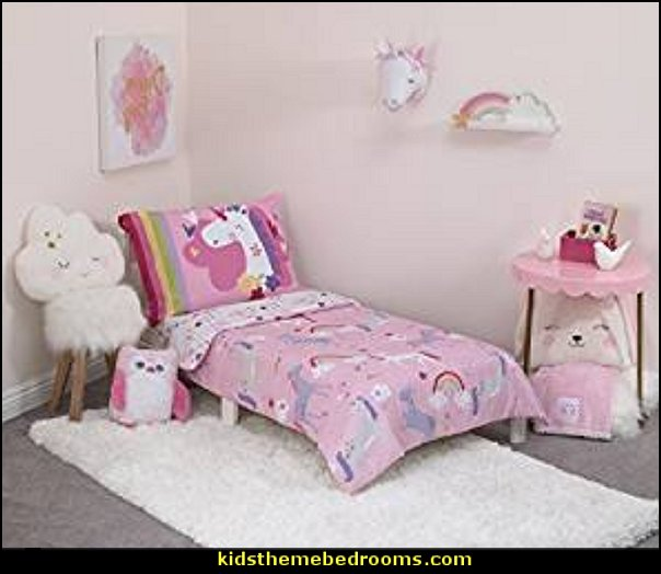 Girls Pink Unicorn Toddler Bedding, Rainbow Toddler Comforter Set Pony Magical Ponies Reversible Toddler Set Enchanted Horse Star Floral Flower
