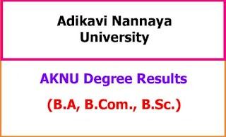 AKNU Degree Examination Results 2021 - BA BCom BSc BCA BBA