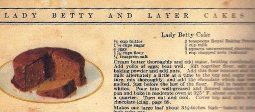 Lady Betty Cake, the original recipe for Old-Fashioned Black Walnut Chocolate Cake ♥ KitchenParade.com