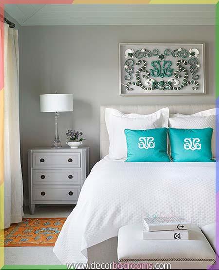 غرف نوم أنيقة للعرسان بألوان بسيطة