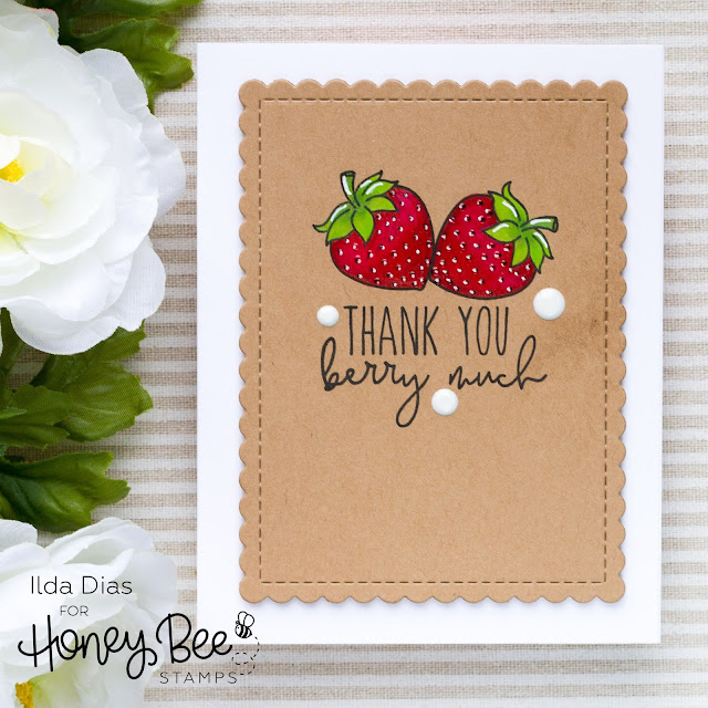 Hello Summer, Sneak Peeks, Pearfect Sentiments, Card Set, Honey Bee Stamps, Freshly Picked, Card Making, Stamping, Die Cutting, handmade card, ilovedoingallthingscrafty, Stamps, how to, Fruit Puns, Fruits, Strawberries
