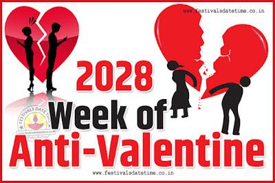 2028 Anti-Valentine Week List, 2028 Slap Day, Kick Day, Breakup Day Date Calendar