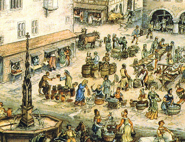 A atividade comercial tinha seu epicentro nas feiras livres em praças públicas