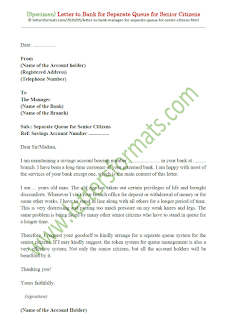 letter to bank manager for separate queue for senior citizens