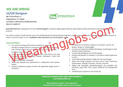 Symufolk Jobs 2020 In Pakistan For UI/UC Designer Latest
