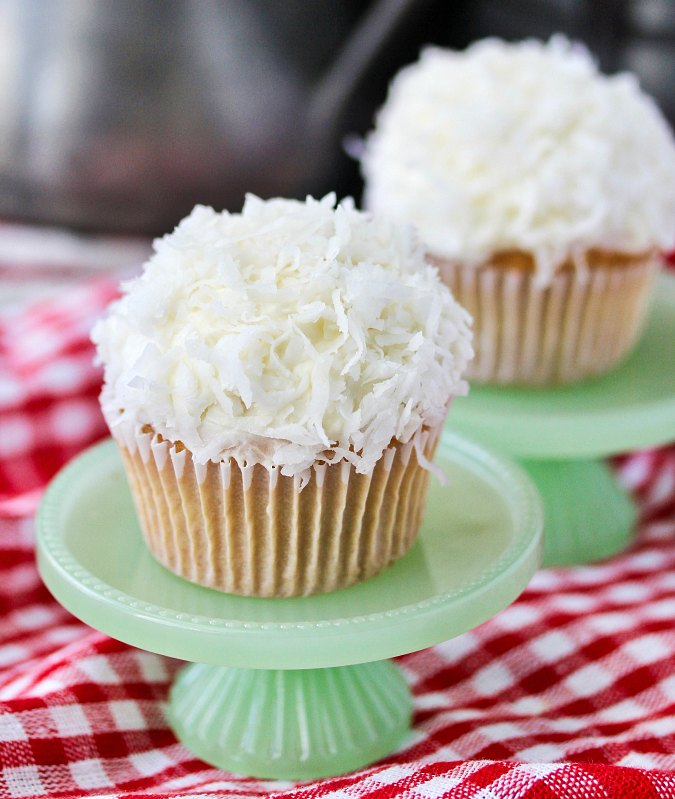 Snowball Cupcakes with cream cheese frosting