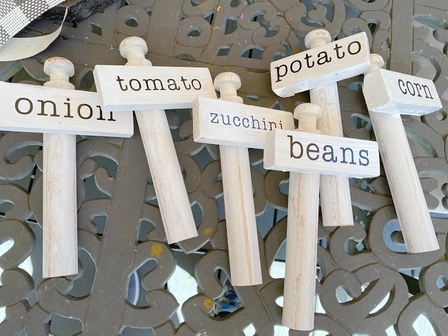 Scrap Wood Vegetable Garden Markers with labels
