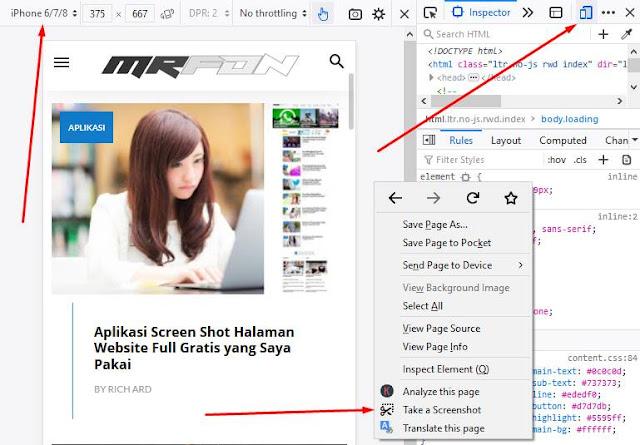 screen shot halaman website full mode mobile