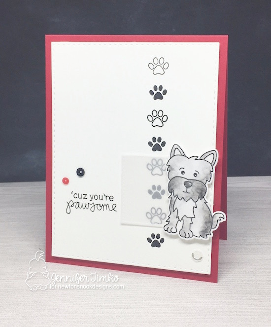 Pawsome dog card by Jennifer Timko | Terrific Terriers | Dog Stamp Set by Newton's Nook Designs #newtonsnook