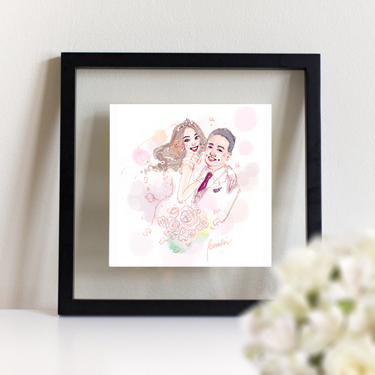 White Wedding, Marriage Custom Portrait, illustration drawing of Chinese couple wearing white wedding dress