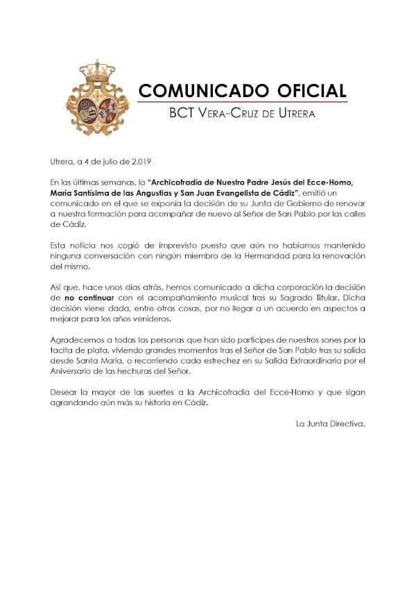 La CCTT Vera Cruz de Utrera NO RENUEVA con la Hermandad del Ecce Homo de Cadiz para el Martes Santo de 2020