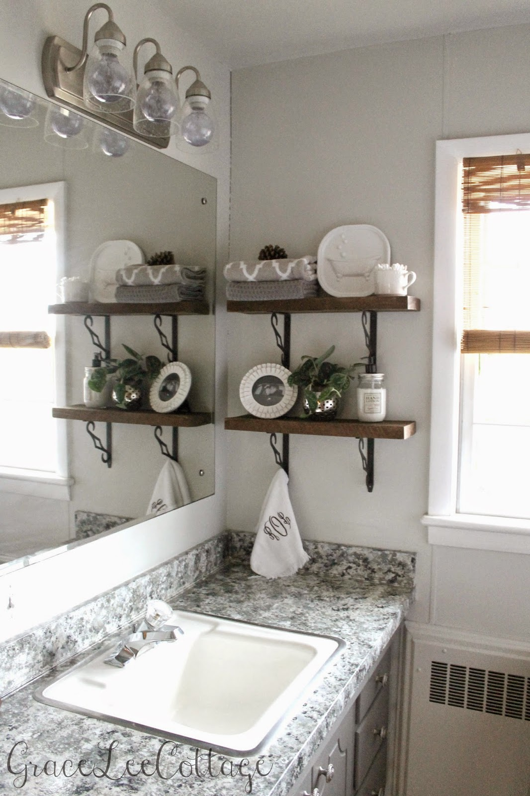 Decorative Rustic Storage Projects For Your Bathroom: Grace Lee Cottage: DIY Rustic Bathroom Shelves