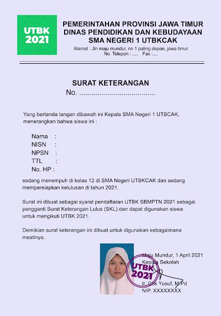 Contoh Surat Keterangan Aktif Kelas 12 untuk SBMPTN