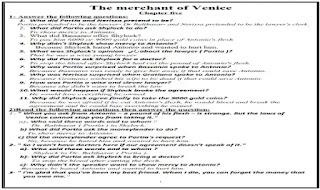 مذكرة اسئلة واجابات نموذجية علي قصة تاجر البندقية The merchant of Venice ملزمة وشيتات تدريبات على قصة تاجر البندقية The merchant of Venice