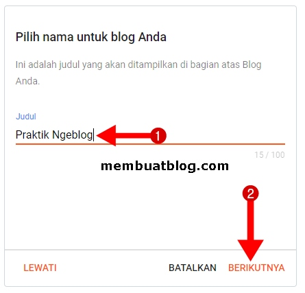 Buat judul blog dan klik berikutnya