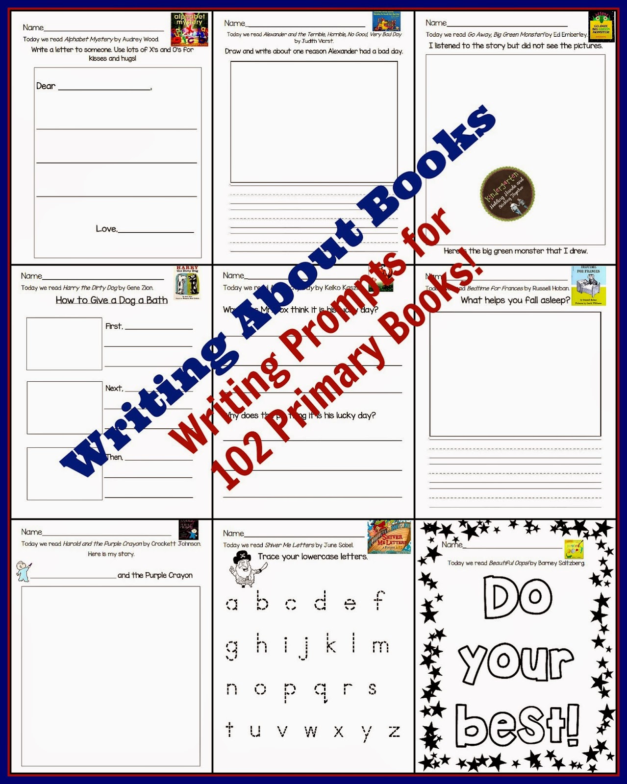 https://www.teacherspayteachers.com/Product/Writing-about-Books-Writing-Prompts-for-102-Primary-Books-1534734
