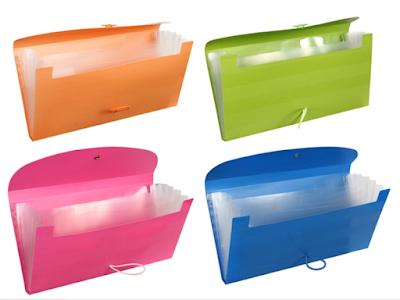 Pink, blue, orange folders