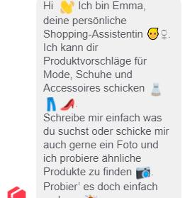 Mode-Chatbot Emma im Einsatz.