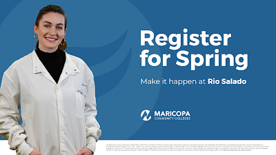 Graphic with a student wearing a white lab coat with text reading register for spring. Make it happen at Rio Salado