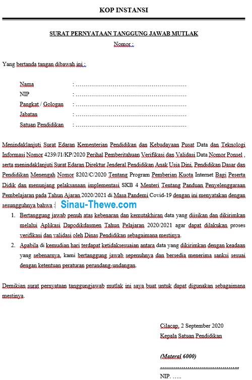 Download Contoh Sptjm Verifikasi Validasi Nomor Ponsel Di Dapodik Sinau Thewe Com